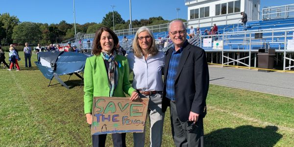 Rep. Michelle Ciccolo, Sen. Cindy Friedman, and Mike at Lexington Climate Strike, Sept. 2019