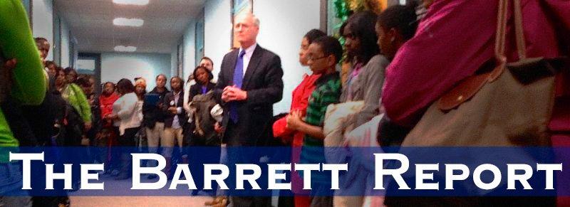 Barrett speaks to students and teachers